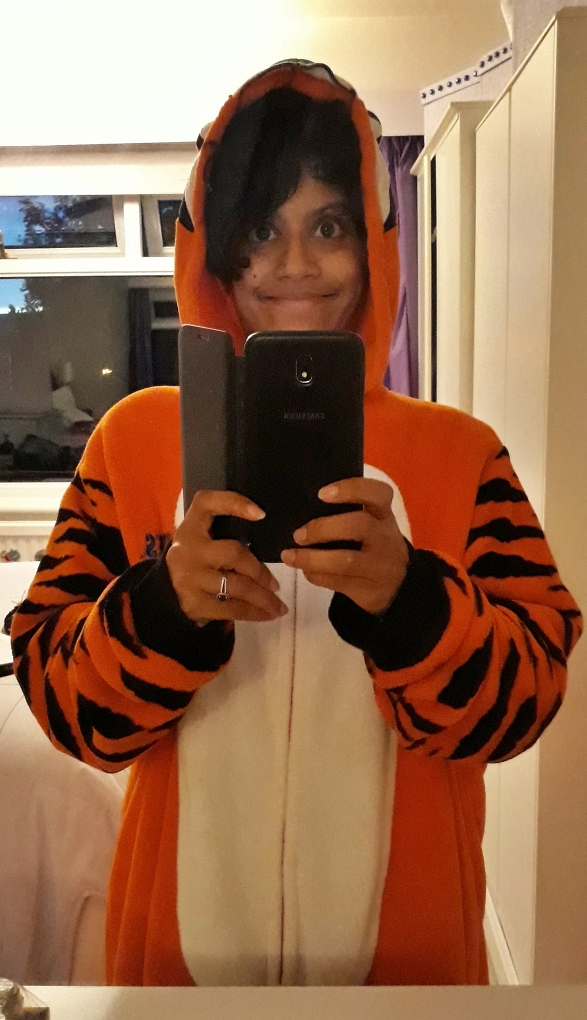 Be respectful and don't ask me why I am wearing this Tony-the-Tiger onesie.