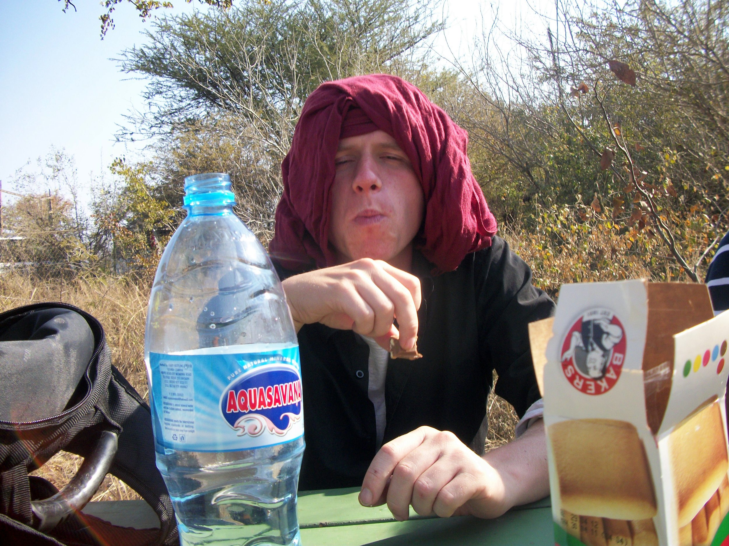 Sometimes the only thing you can do is have a biscuit. And wrap a scarf around your head to stop sunburn.