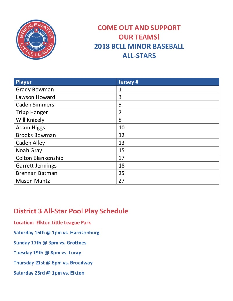 2018 Minor Baseball all-stars