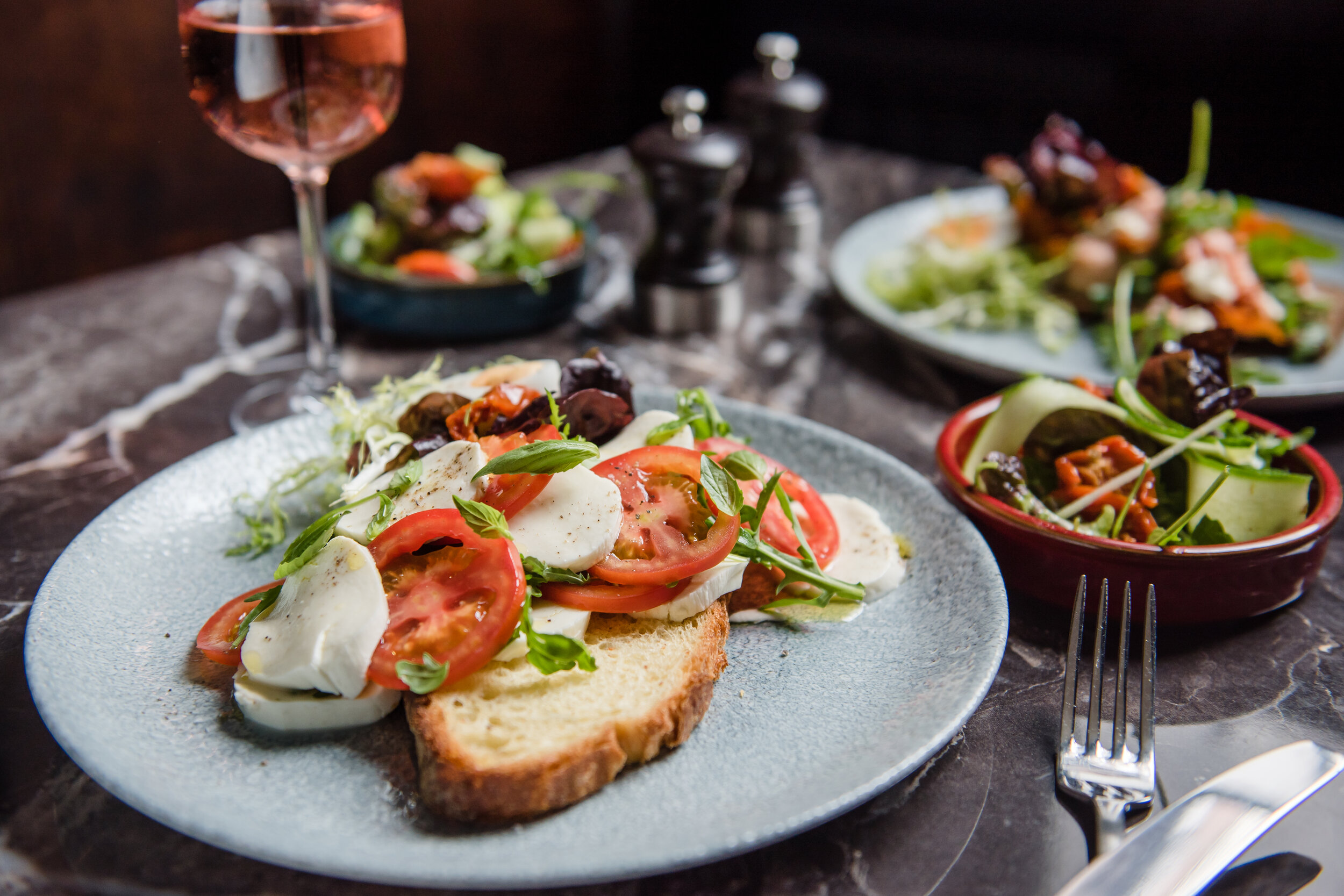 the ark (v) - £6.45 - *this choice donates £1 to The Shrewsbury Ark charity, Tomato, mozzarella, rocket and basil oil, complete with signature side salad.