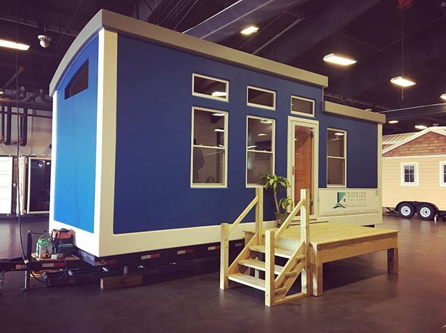The Bayside Tiny Homes portable showroom is all set up! So excited for the home show tomorrow! Doors open at 9:00, #raleigh come see us! #tinyhouse #ncstatefair #blue