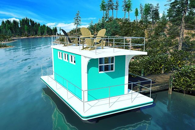 "Today we'll be releasing our Tiny Floating Home models at the Great American Tiny Home Show in #raleigh ! Our dream is to make ""a place on the river"" affordable and accessible for everyone. Starting at only $40k, these homes are made to be docked at a marina or private dock.  #floatinghouse #turquoise #livingthedream"