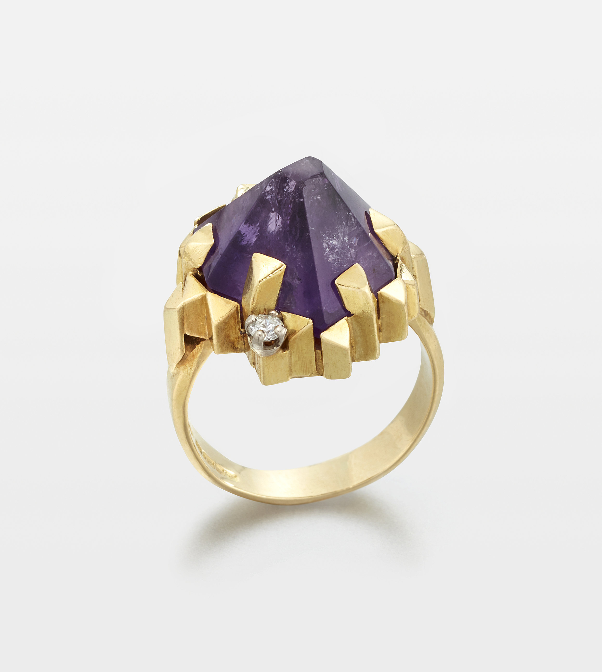 A facetted amethyst, diamond and 18K yellow gold ring, 1973, English - Makers marks T.A.P and C.P.T, maker's marks unknownBirmingham hallmarks
