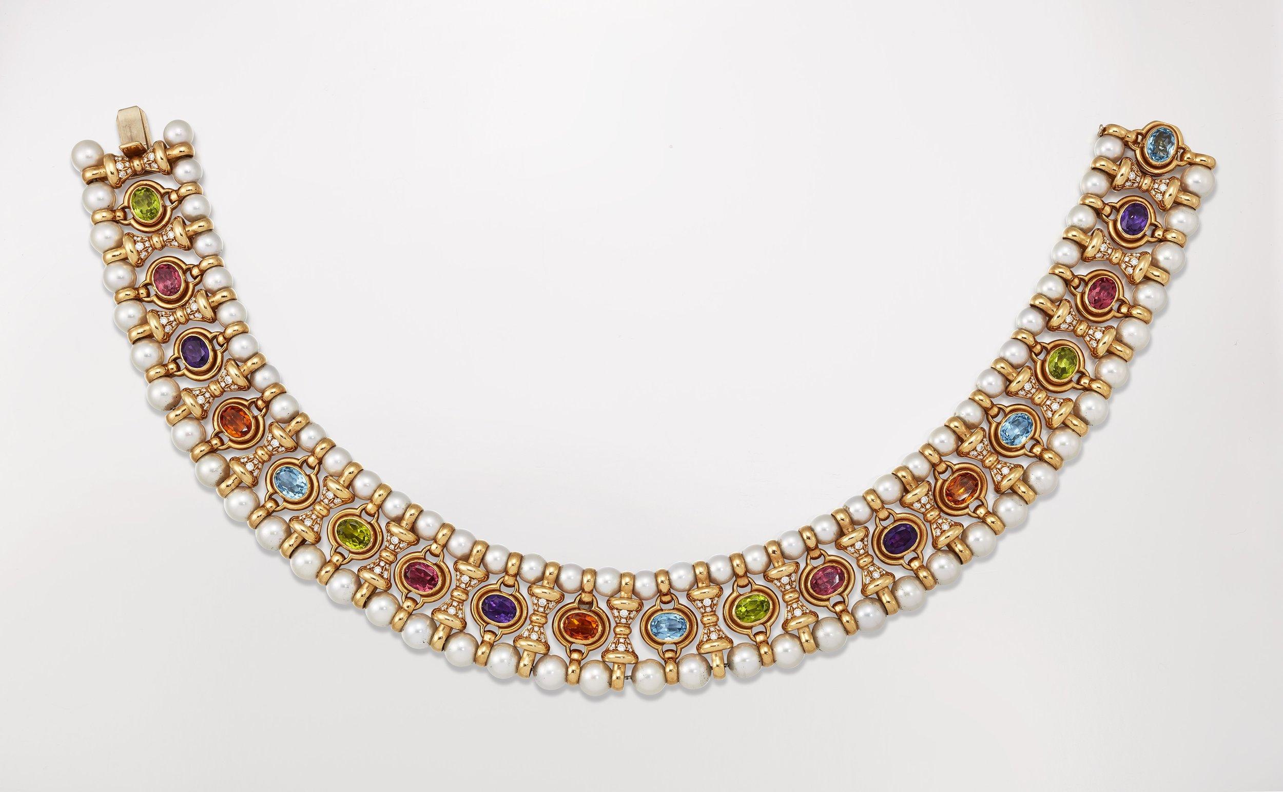 Bulgari - An 18K yellow gold, multi gem-set, cultured pearl and diamond collar necklace, circa 1990Signed BulgariNumbered