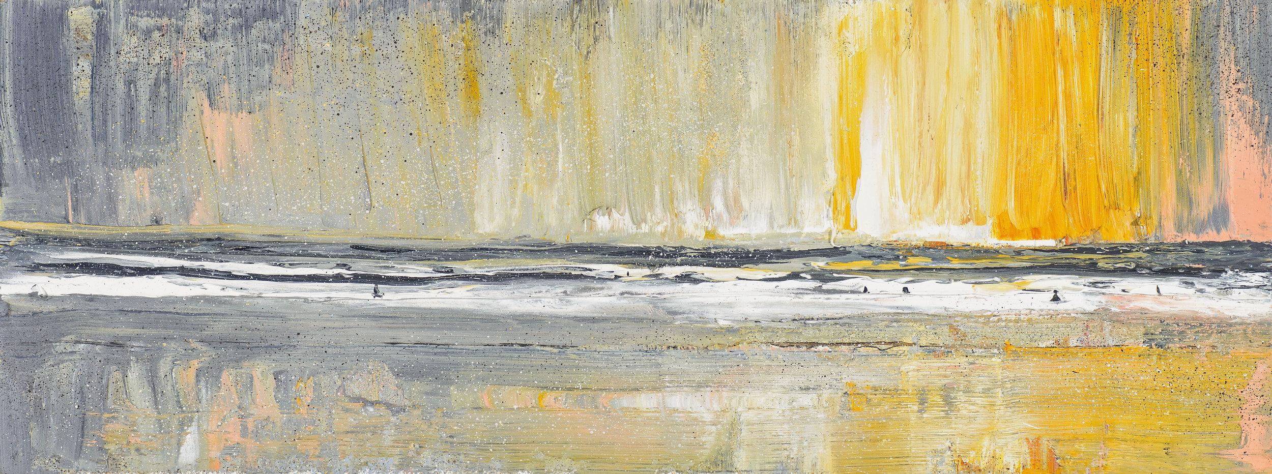 Last hours of light Polzeath. Oil on canvas. 40x15cm. £850 inc vat .jpg
