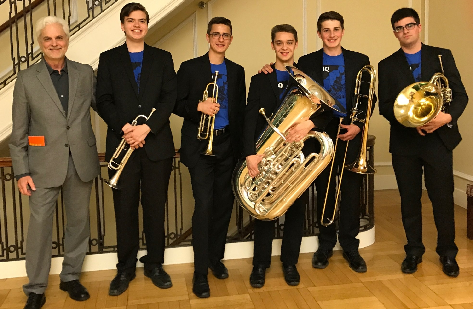 Jim with NEC Prep Honors Brass Quintet before their concert.