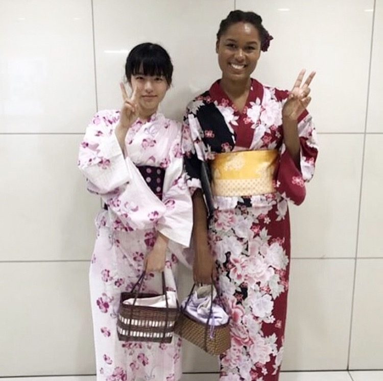 My host sister and I wearing traditional yukatas in Osaka, Japan.