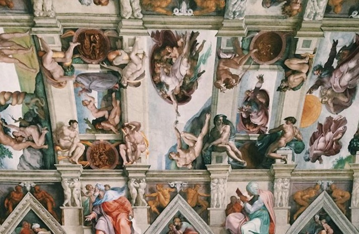 The ceiling of the Sistine Chapel. This was painted by Michelangelo at the turn of the 16th century.