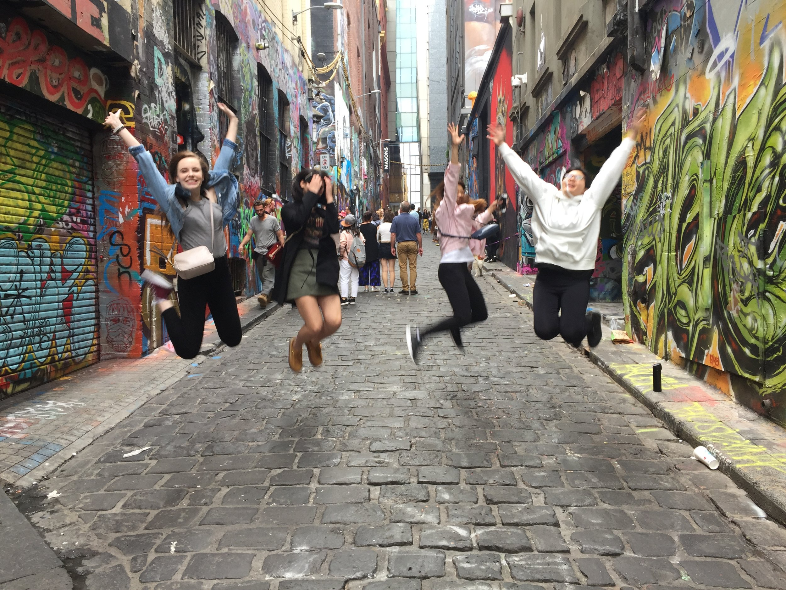 My roommates and I exploring Hosier Lane in Melbourne, which is known for its graffiti artists and street art.