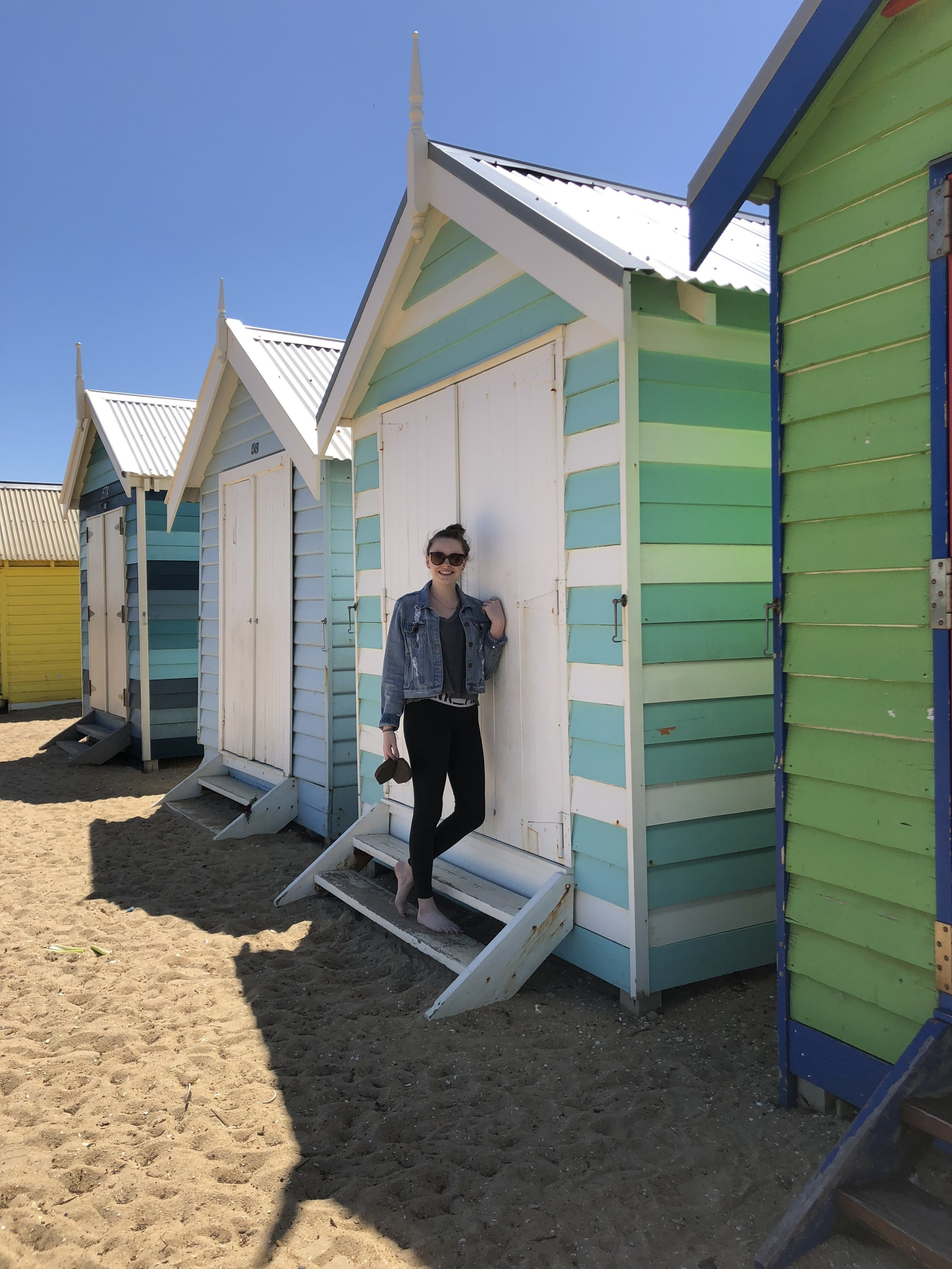Visiting the famous Brighton Bathing Houses in Melbourne, Australia.