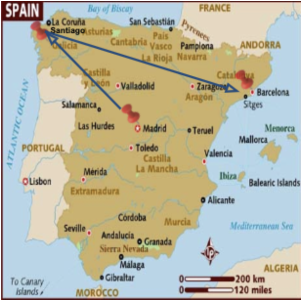 Pictured was Greg's itinerary - Starting in Madrid, then heading to Santiago de Compostela, and ending in Barcelona.