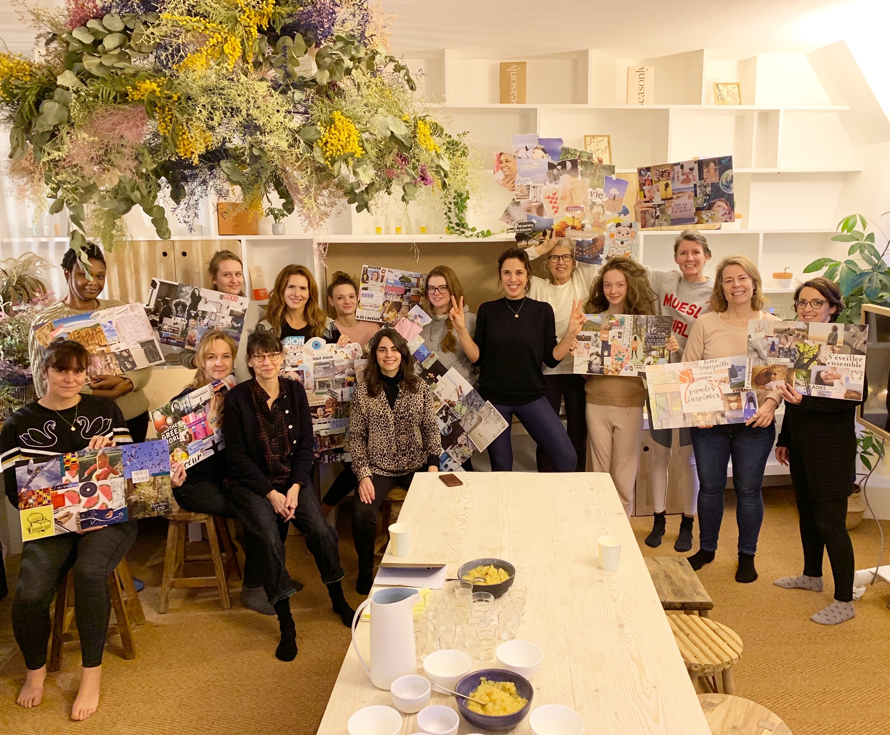 "Participants holding up their vision boards at Lili Barbery's ""Transformative Journey"" @Seasonly, Paris (February, 2019)"