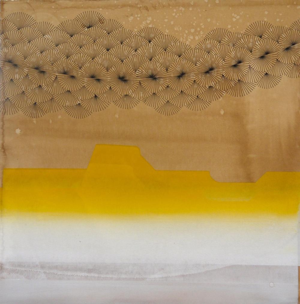 """Crash at Corona,"" acrylic and silkscreen on dyed paper"