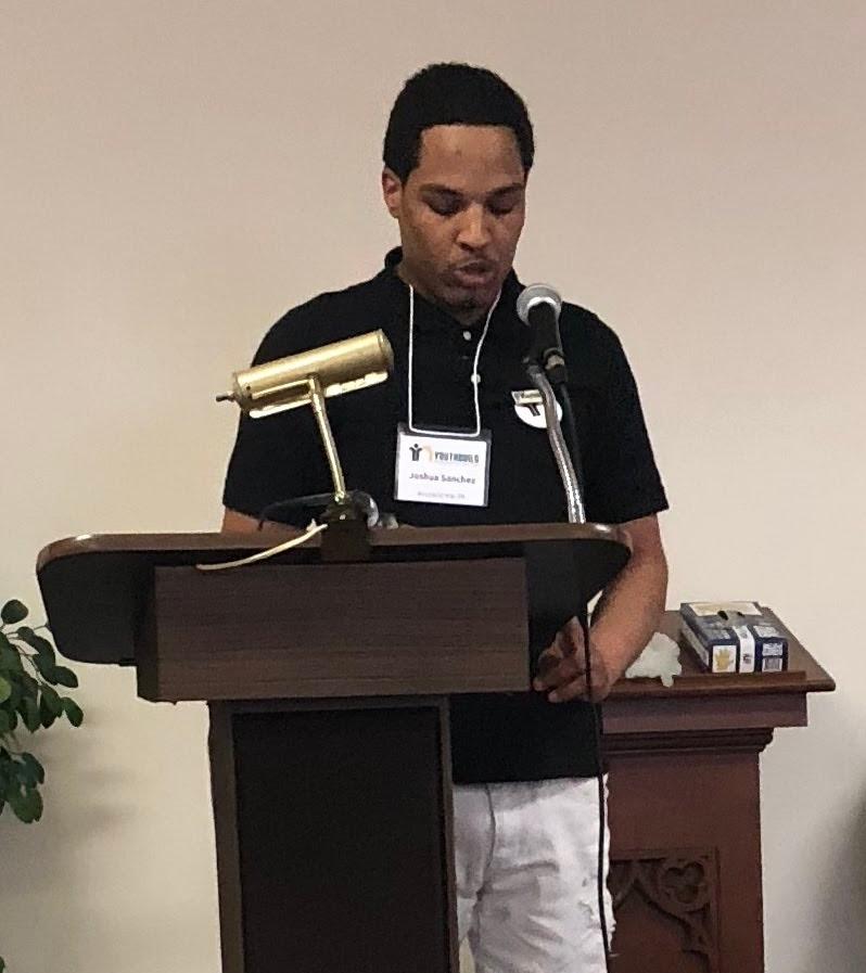 Joshua Sanchez (Allentown) delivering a motivational speech he prepared