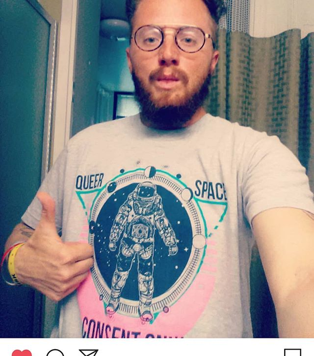 "Check out my favorite southern ginger poet @shepkool in the ""Queer Space Consent Only"" design!!This was a limited run S-6X y'all I only got 3 left! #queerkuntry #consentonly #queerart #tshirtsforqueers"