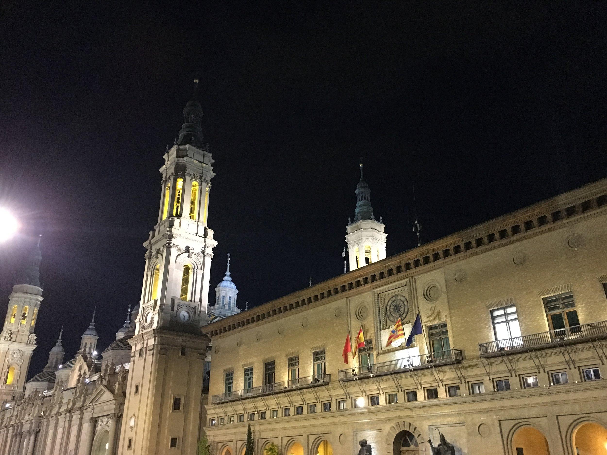 Zaragoza at night
