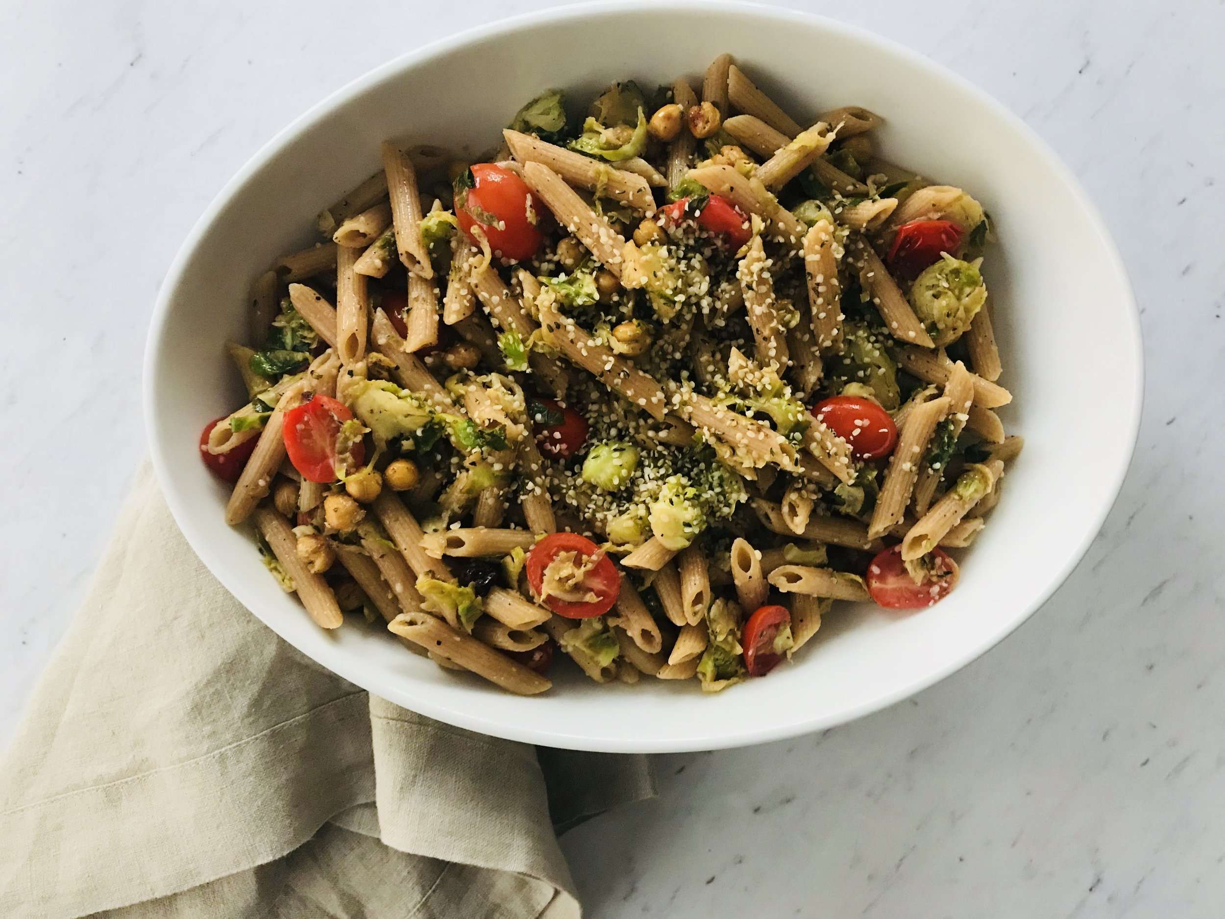 Pasta with Brussel Sprouts, Crunchy Chickpeas & Hemp Seeds