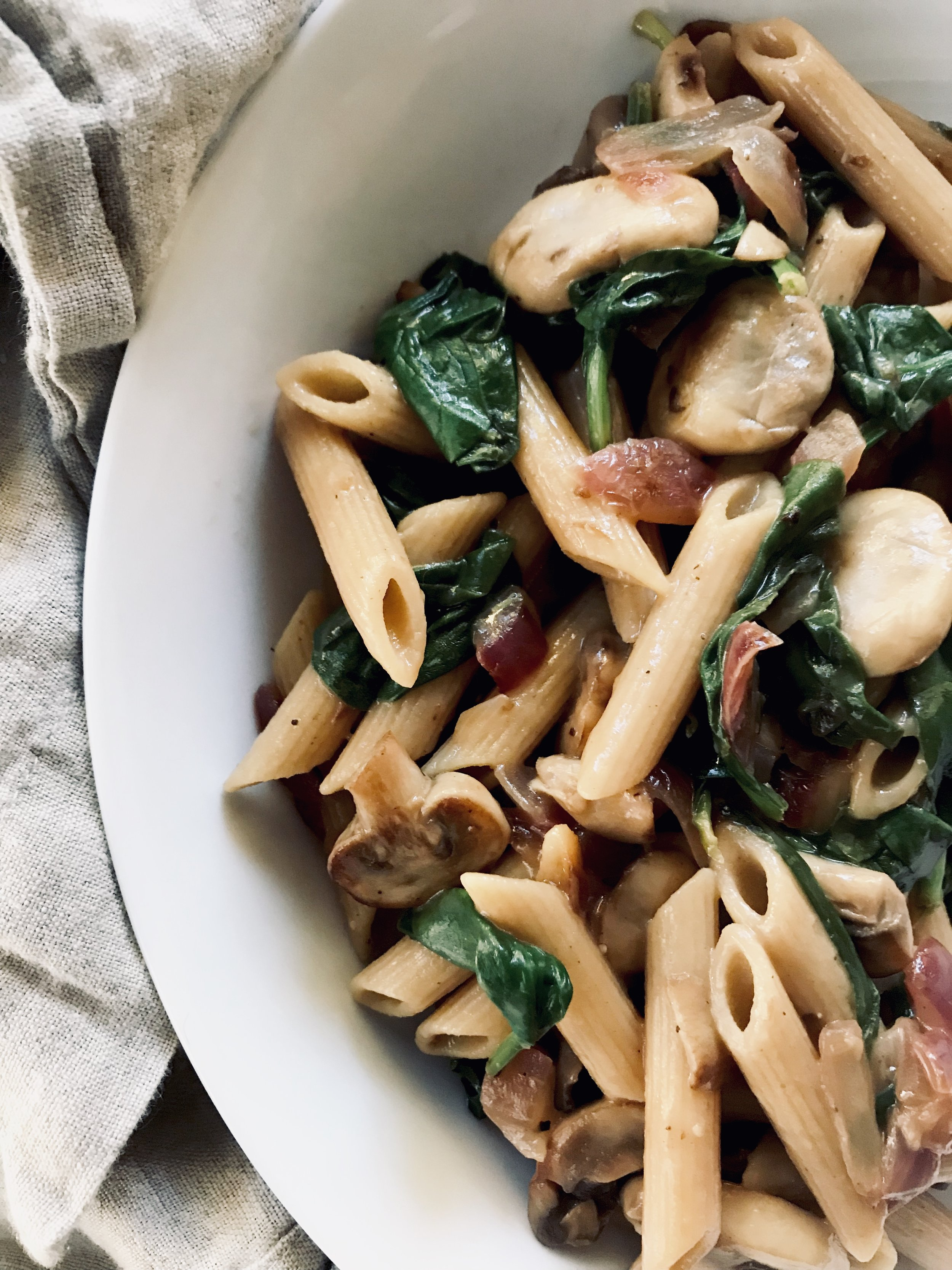 Pasta with Spinach, Mushrooms, + Creamy Lemon Garlic Sauce (vegan)