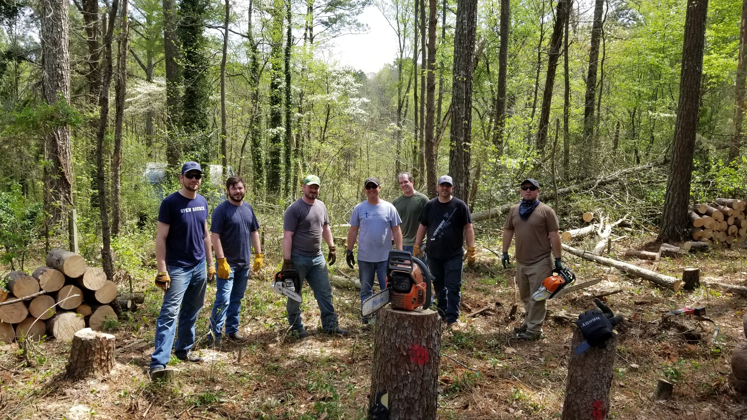 The Pioneer Technology Crew after a few hours volunteering on tree and brush clearing for The Ware House Project