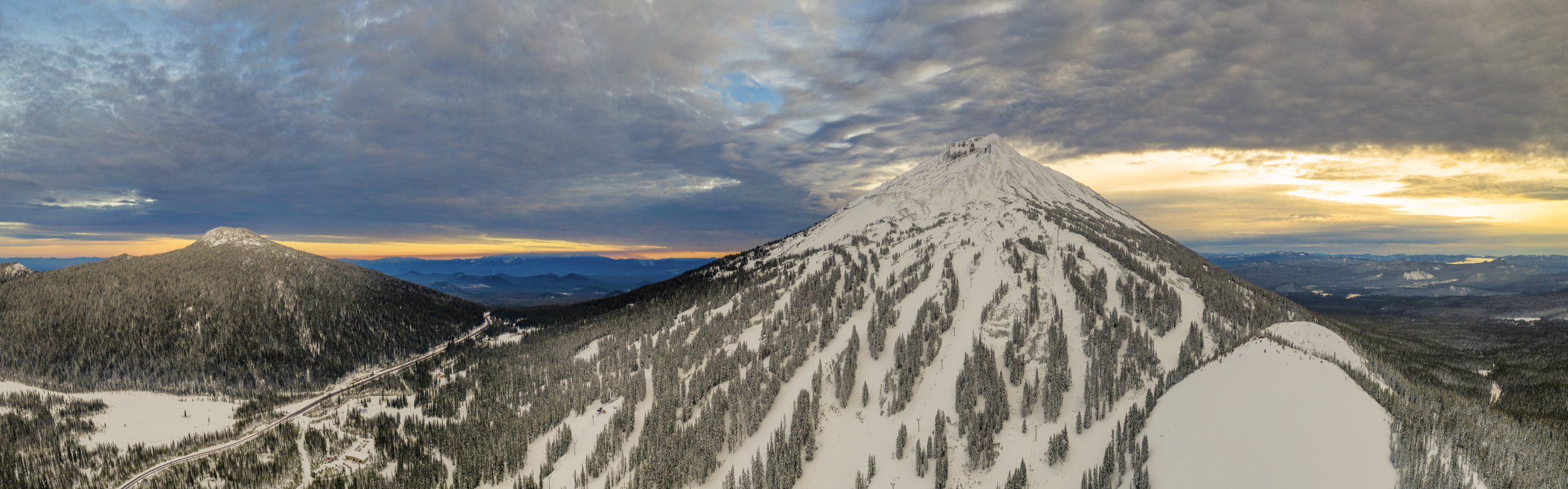 Mt. Bachelor in Central Oregon. Drone panorama.