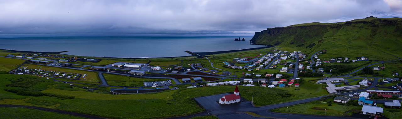 This is the little town of Vik in South Iceland. Everything in the picture to the left of the church is new.