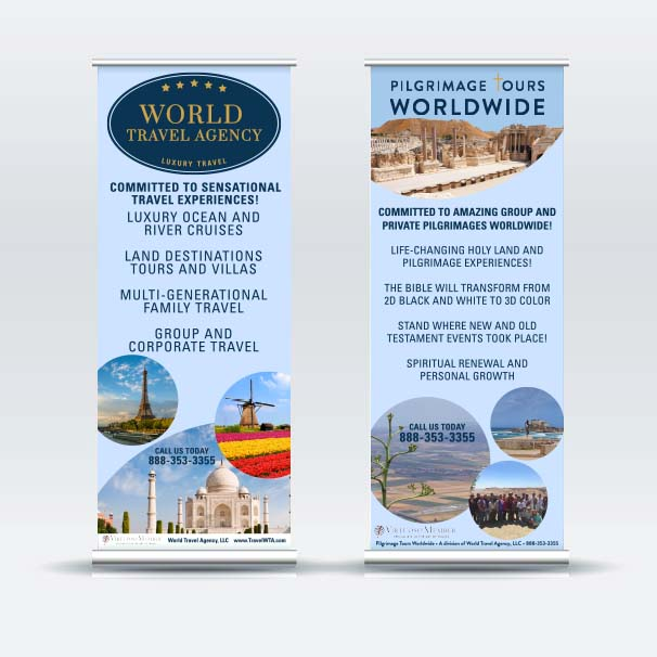 World Travel Agency  and  Pilgrimage Tours Worldwide  Banner Designs