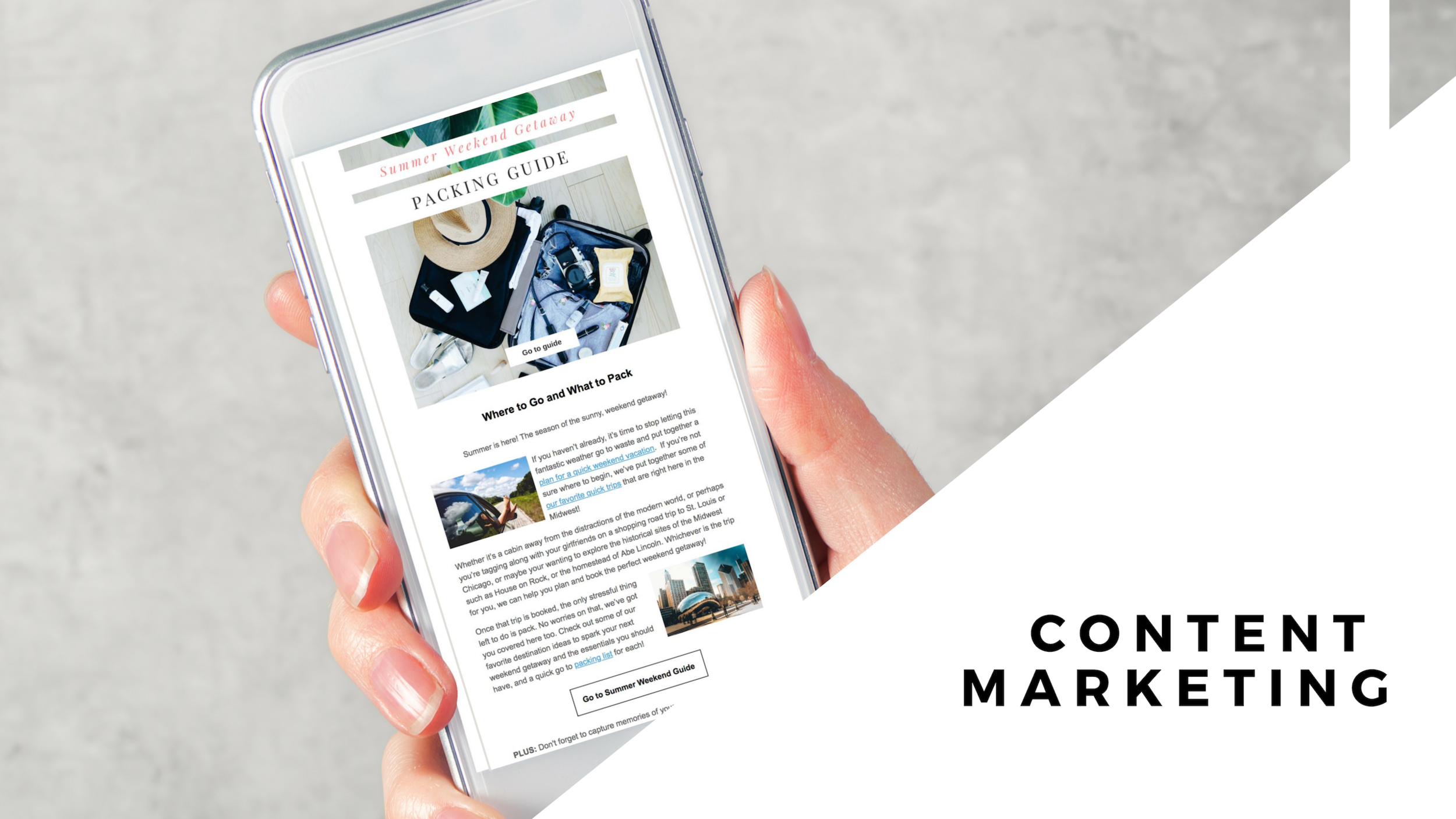 Content for people, optimized for search engines.  Using an inbound, integrated approach, we focus on building and leveraging remarkable content that aligns with your ideal customer.  · Blogs & vlogs · Video & photography · Infographics · E-books & whitepapers · E-newsletters & email marketing