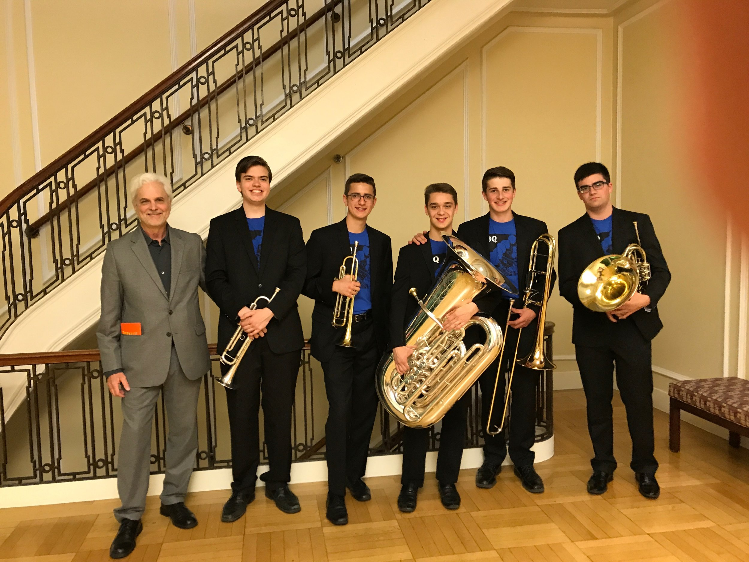 Jim with an ensemble he coaches at The New England Conservatory, The Prep School Honors Brass Quintet