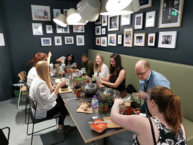ITV Terrariums Workshop . Yesterday we had the pleasure of carrying out a mindful session of creating a garden within a bottle with staff at ITV, Grays Inn Road; such a fantastic group of people to work with and we look forward to putting on a similar session for the Chancery Lane office next week. . Thank you Jar and Fern for collaborating with us and delivering the session. . . . #terrariums #plantworkshop #mindfulness #bepresent #stressawareness #mentalhealth #corporatewellbeing #thewellnessmovement #healthandfitness #fitmind #mindful #terranium #workplacewellbeing #getfit #ITV #jarandfern #mentalhealthawareness