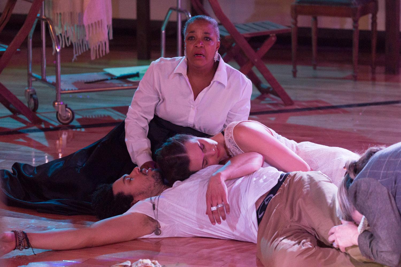 Cathleen Riddley as Lady Capulet, Drew Reginald Watkins as Romeo, and Mairin Lee as Juliet