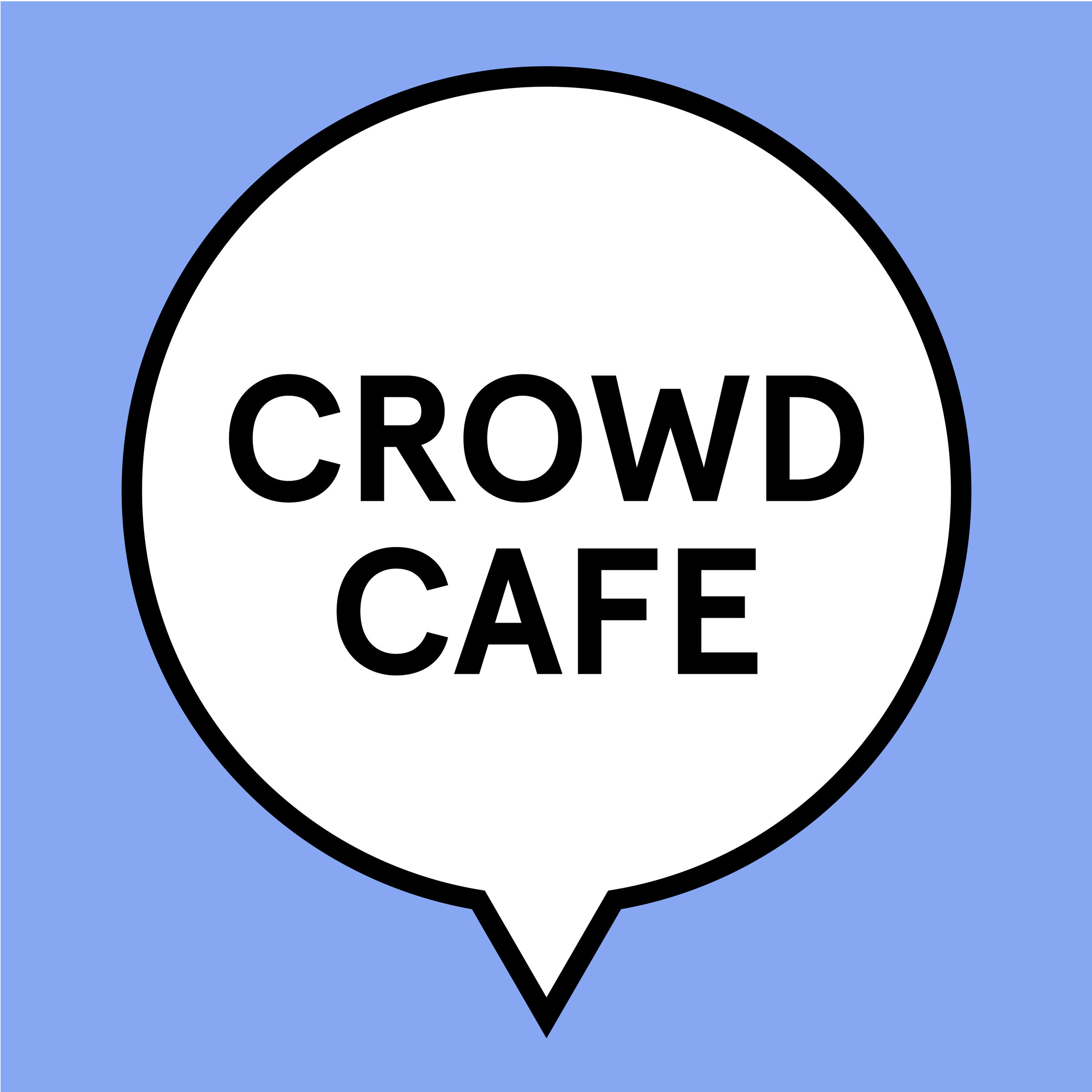 """A logo identity system created for a """"Crowd Cafe"""" event hosted by BU Libraries. This is a digital humanities event which encourages crowd-based activities such as the Wikipedia-edit-athon. Librarians were able to place their own text in the speech bubbles as the events were changed."""