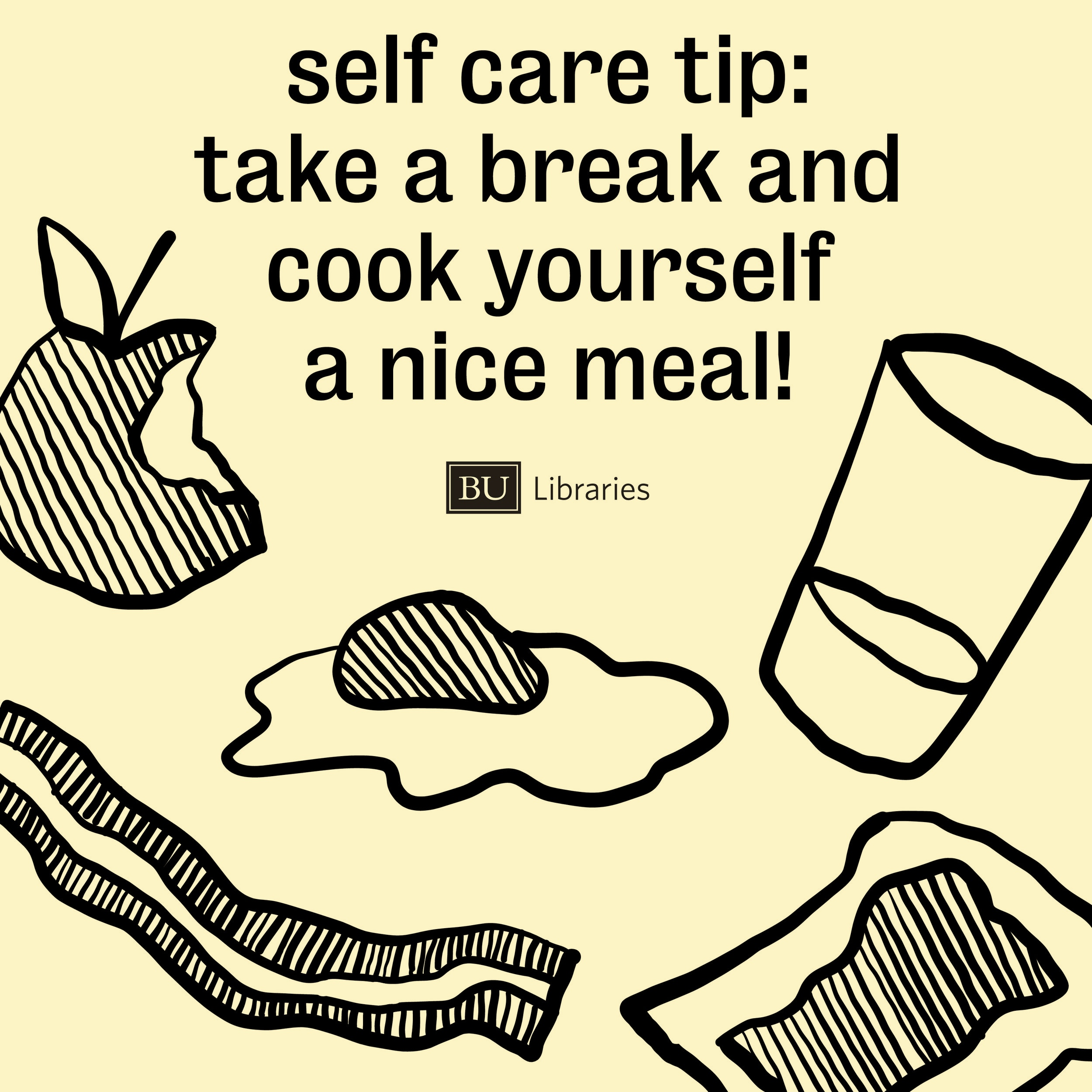 This instagram graphic reminds students to take care of themselves while studying.