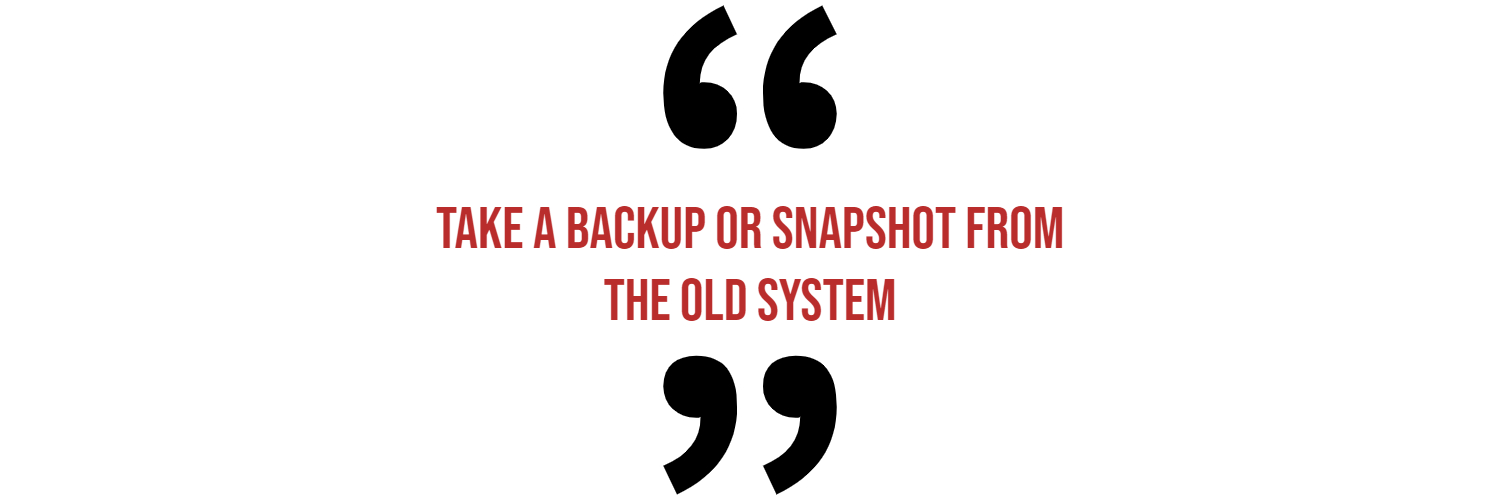 Take a backup or snapshot quote