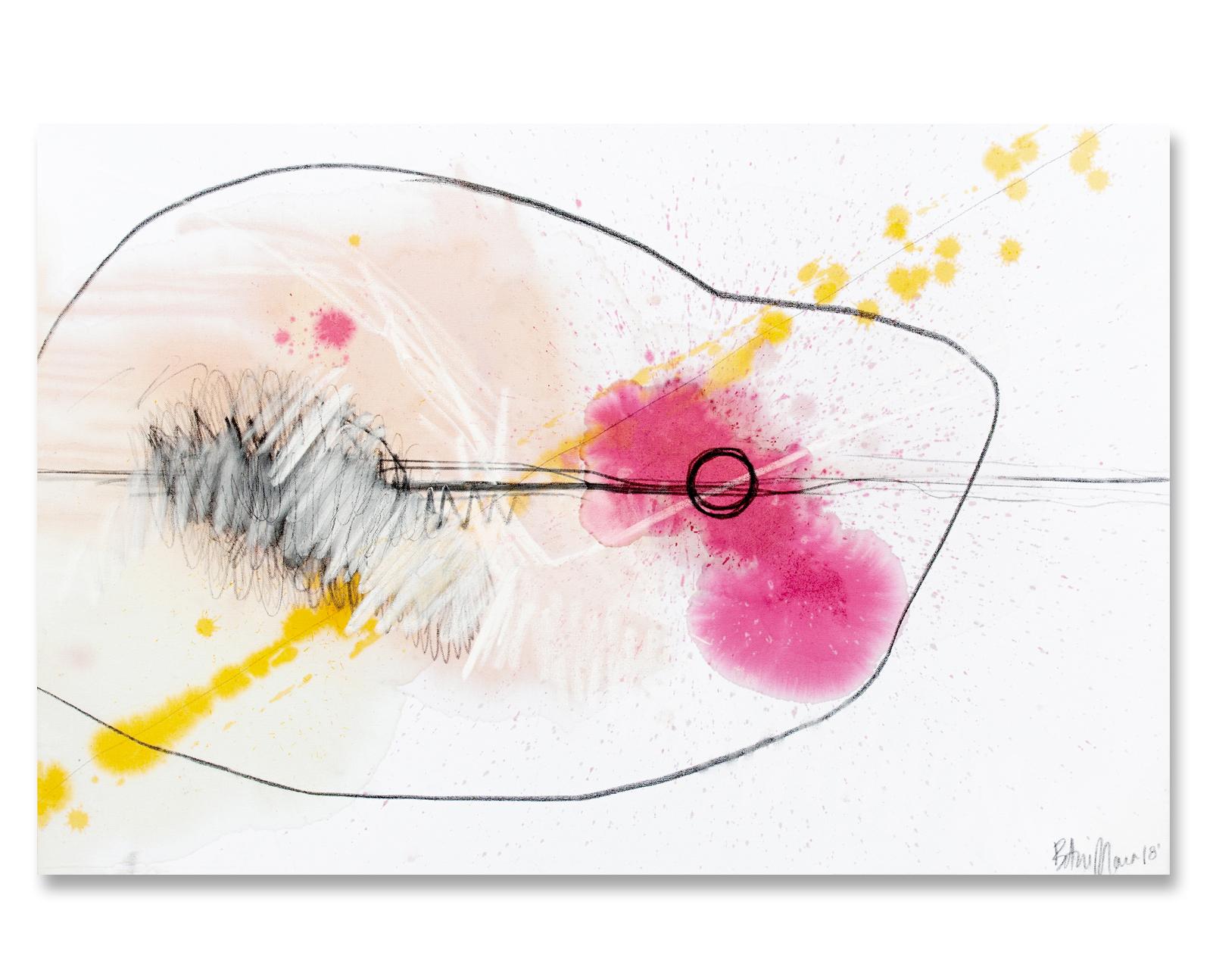 """AVOCADO GUACAMOLE"" - 24'' x 36''Avocado pits, hibiscus flower, saffron, charcoal and chalk on canvas.2018INQUIRE"