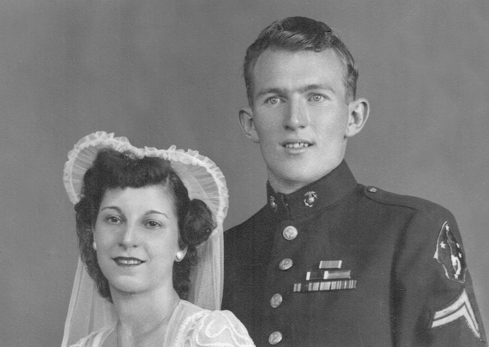 Wedding portrait of William and his bride, August 4, 1946.