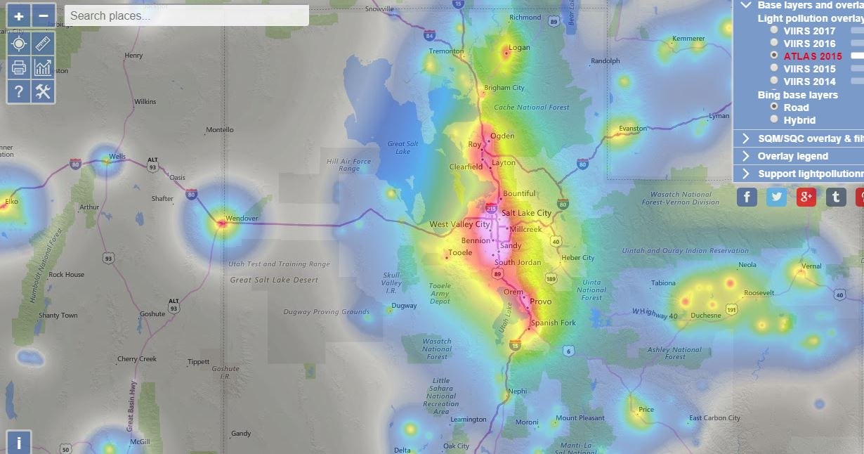 Light pollution map of Utah
