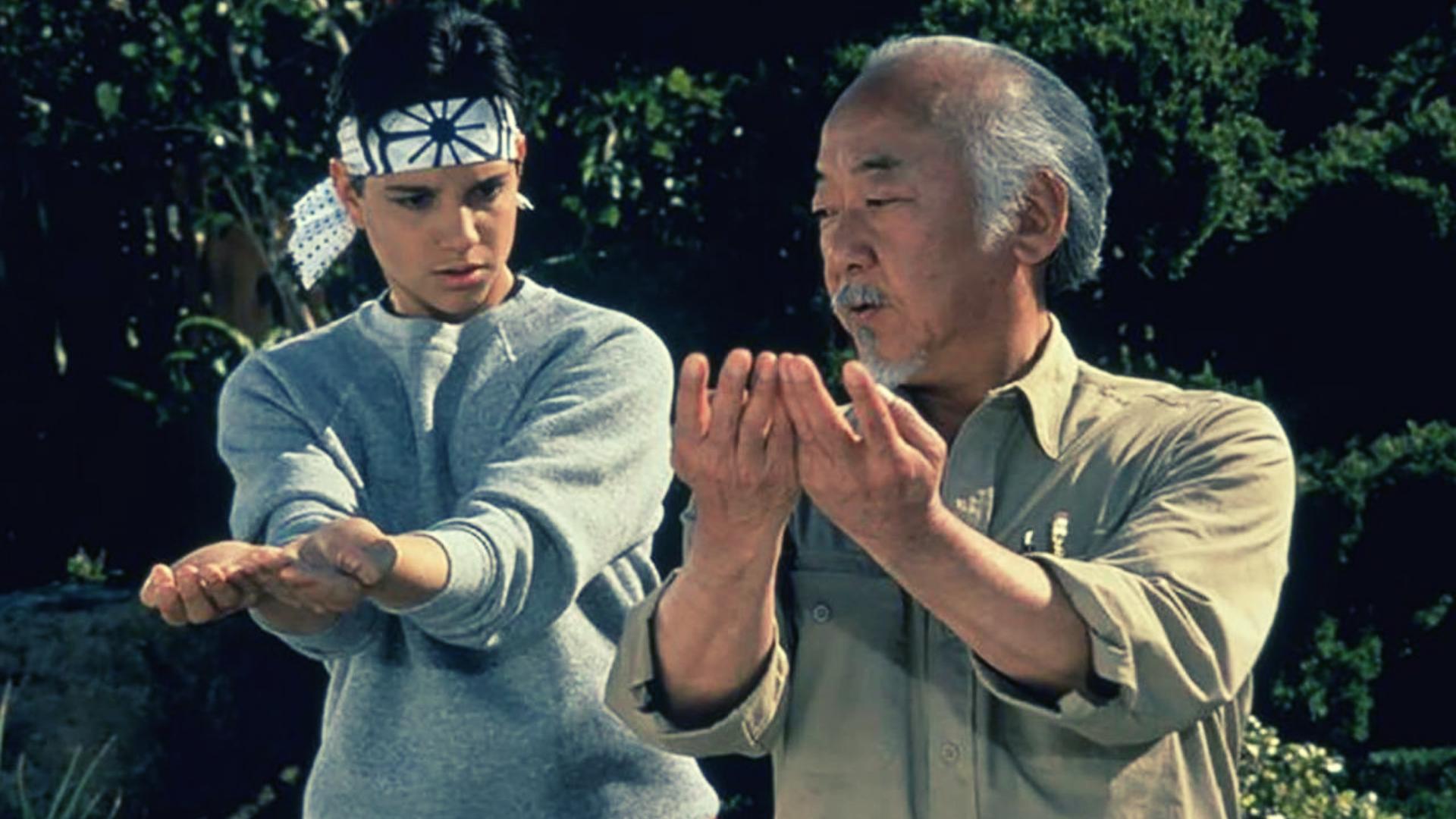Famous movie mentors: Ralph Macchio as Daniel and Pat Morita as Mr. Miyagi in  The Karate Kid  (1984)