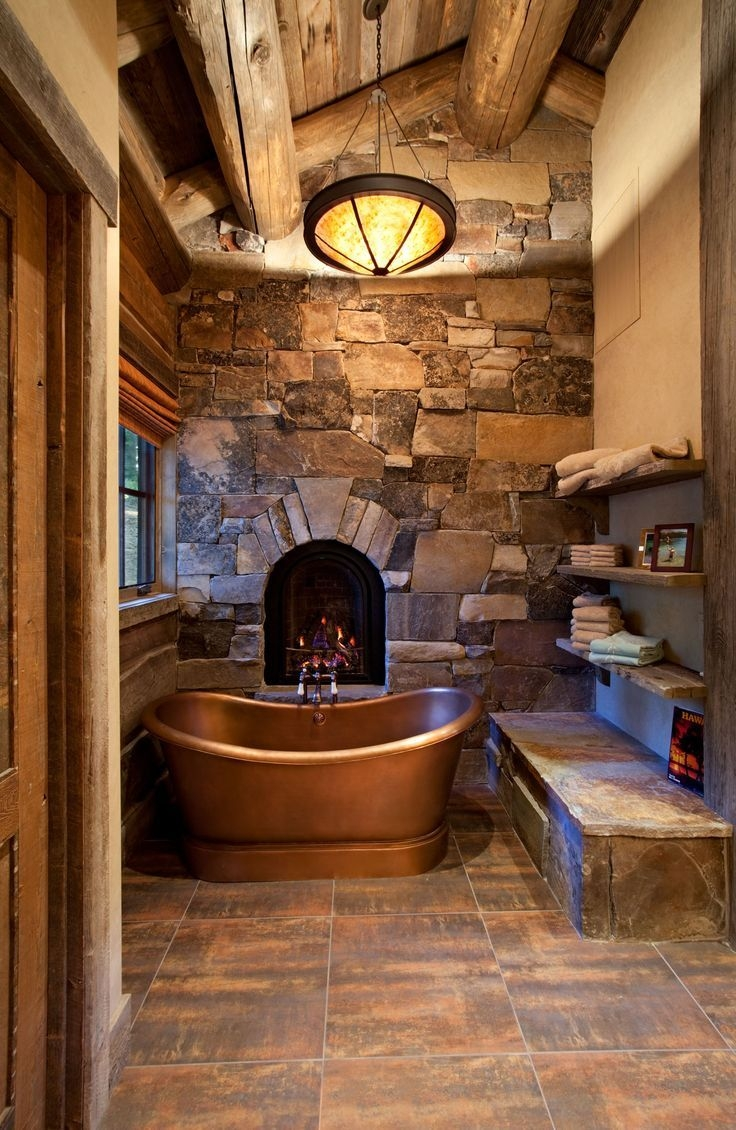 optional Copper tub, rock Moss wall,  & Fire place,