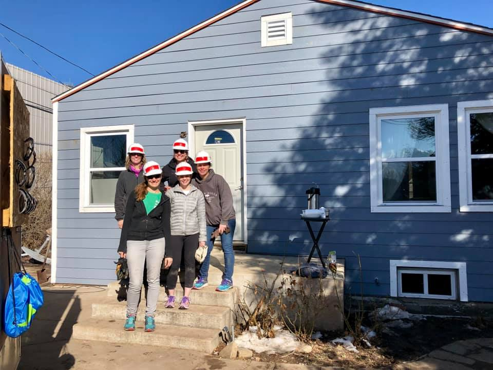 A handful of Saint Peter's MOPS moms worked on a Habitat for Humanity re-build last weekend (pictured here). The home was located in the Westwood neighborhood off of Morrison Road in Denver. The crew helped to install new siding, which meant mastering the nail gun, miter saw and circular miter saw.