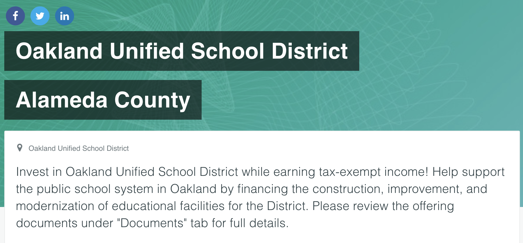 Using Neighborly, individuals can invest in public projects, like public schools in Oakland, CA.