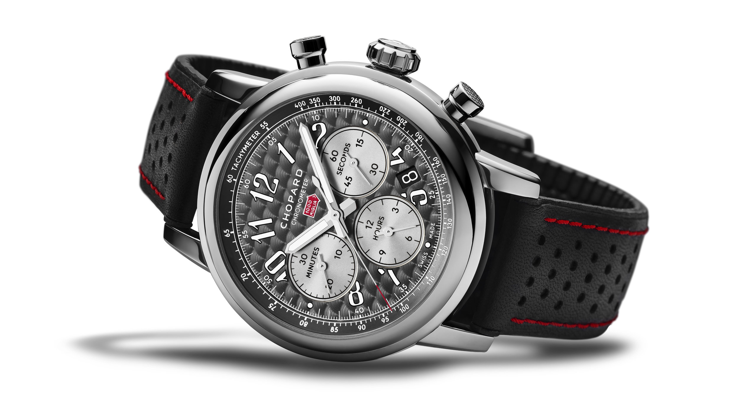 The Mille Miglia 2018 Race Edition - The stylish 42mm watch in stainless steel, equipped with a mechanical chronograph movement with automatic winding. The timepiece is presented on a black calfskin bracelet with red stitching and black rubber lining. Limited to 1,000 pieces.