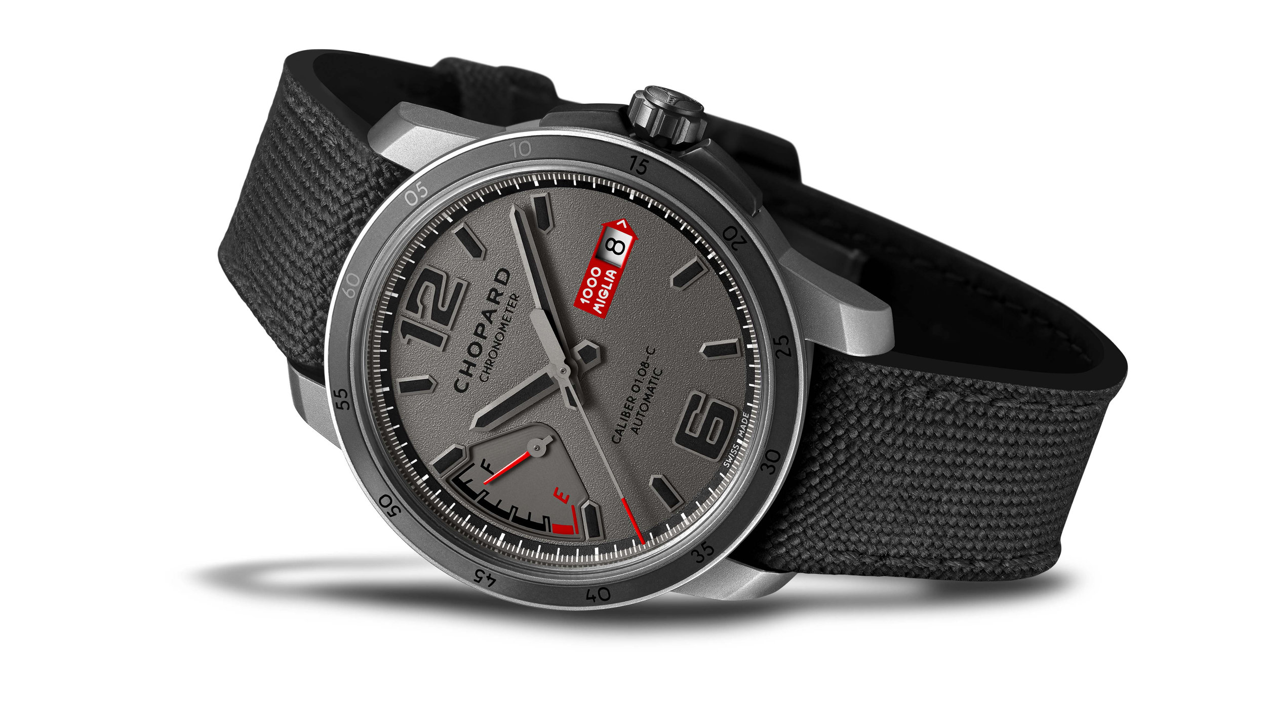 The Mille Miglia GTS Power Control Grigio Speciale - 43mm watch in titanium featuring a stippled anthracite grey ruthenium dial and equipped with a mechanical movement with automatic winding. The watch is presented on a grey Cordura fabric bracelet. Limited to 1,000 pieces.