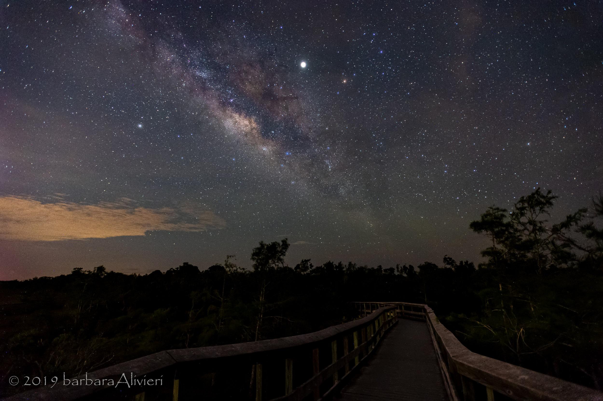 Milky way over the boardwalk.