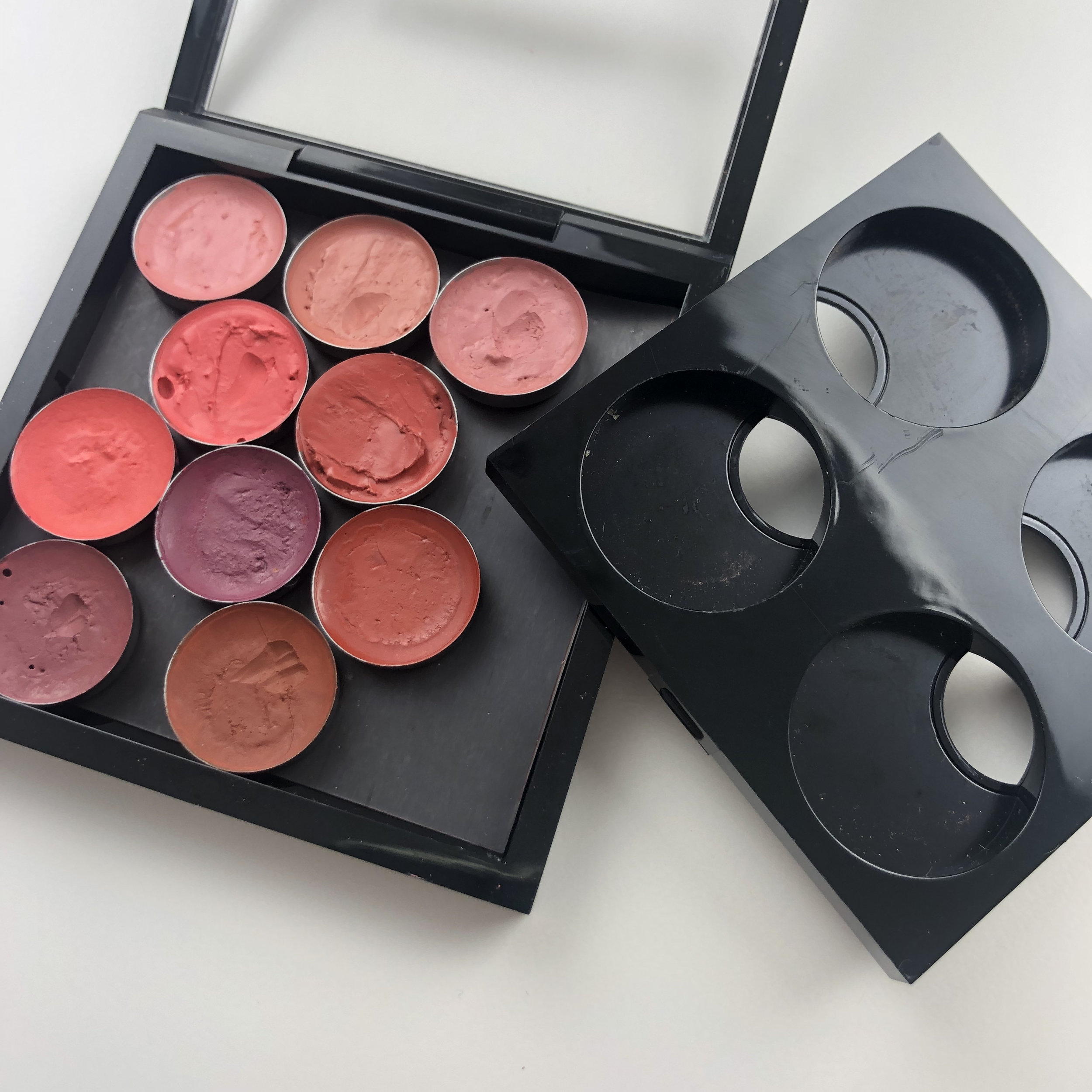 I removed the old insert and replaced it with just the self adhesive magnetic sheet and my RCMA cream blushes in the Z-Palette mini round makeup pans.