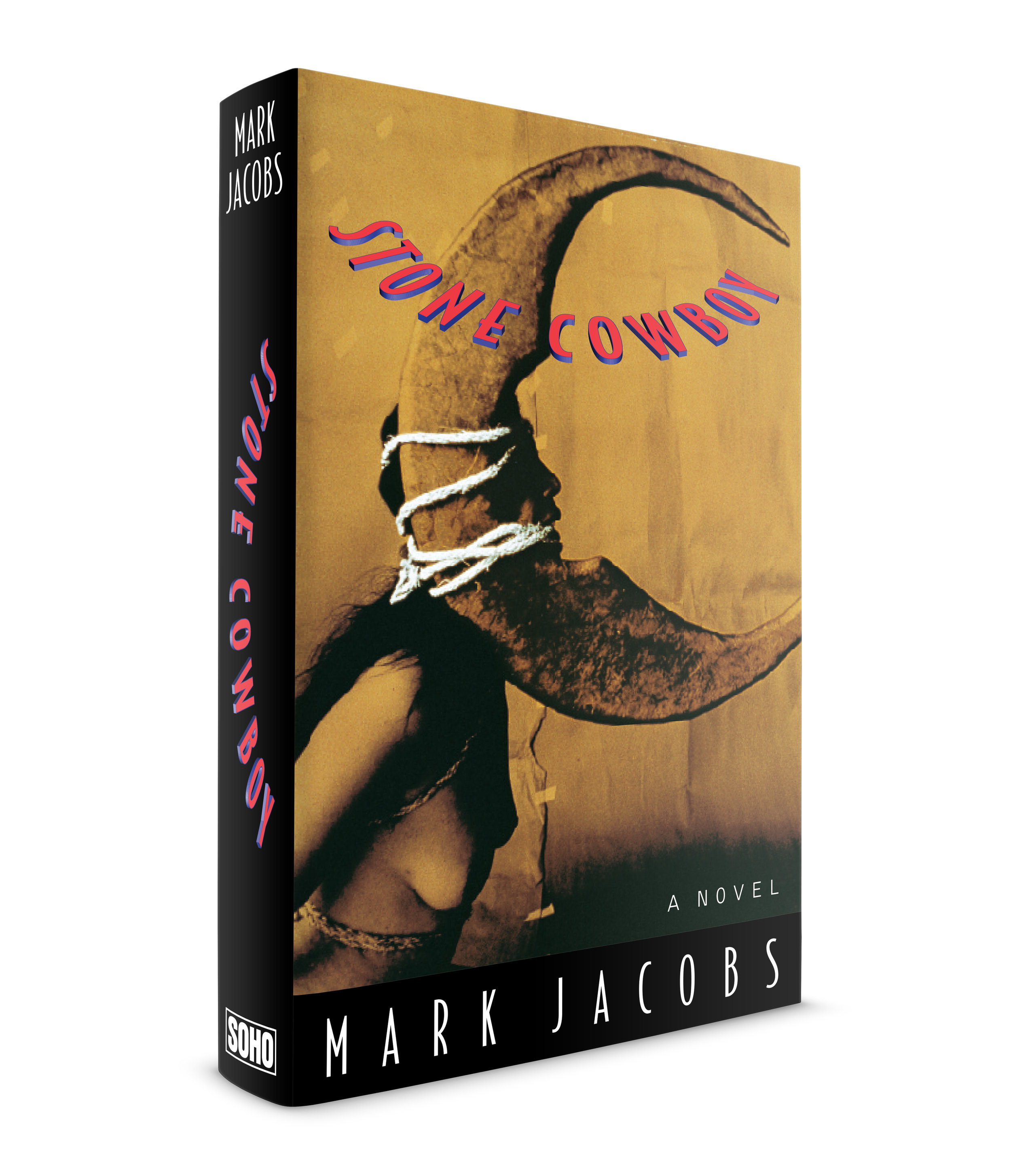 Stone Cowboy by Mark Jacobs. Published by Soho Press. This was my second jacket commissioned by Laura Hruska and  Juris Jurjevics at Soho, the day after my first assignment. An American magician vanishes in Bolivia while searching for the true magic which he feels exists in the altiplano and mythic Indian cultures of the country. His sister travels there to find him and enlists the help of another American who speaks Spanish and the Aymara Indian dialect. Photograph by the Guatemalan photographer Luis González Palma.  One of the editors at Soho had seen an exhibition of this photographer's work in California and asked me to take a look at it. There was certainly the haunting, magic realism of the region in his images. And that color, with white accents. We chose this image then I created the semicircular title levitating over the image. Typeface is Bodega Sans.