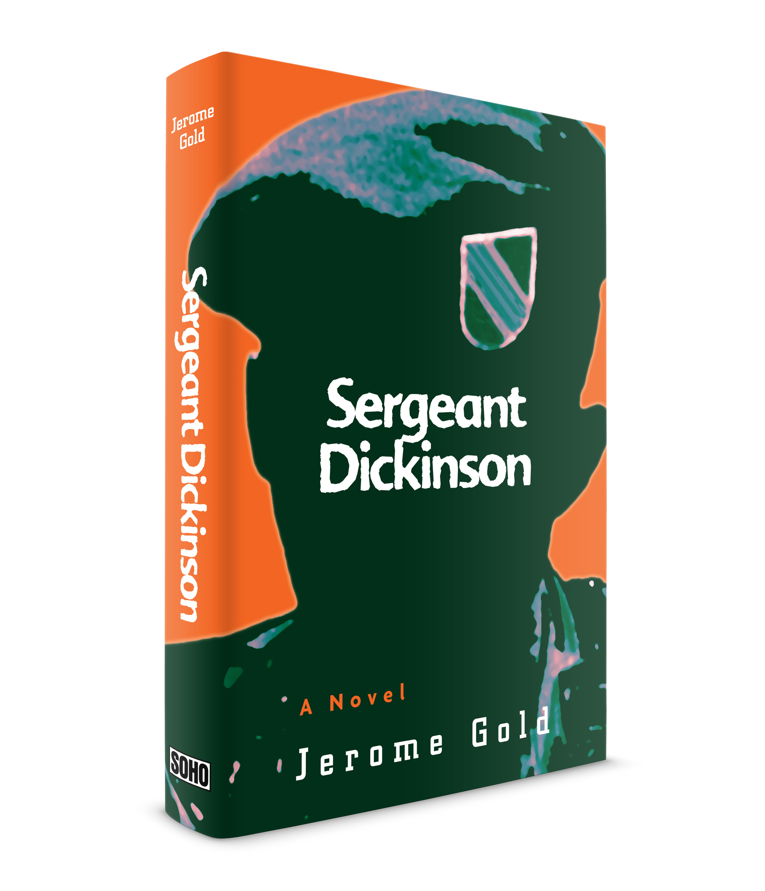 Sergeant Dickinson, by Jerome Gold, published by Soho Press. This was my first Vietnam novel. I was very busy at the time but I remember thinking, this is an historic period and I must pay close attention to the story and put my best effort forward. Jerry Gold (the author) was a special forces officer in Vietnam who survived a particularly deadly attack in the early stages of the conflict. His novel spared no details in the gruesome and often, graphic depiction of war. He told the story with poetic grace. Juris Jurjevics , the publisher, and Jerry wanted to try something that made use of the special forces patch that the officers wore at the time. I tried it but it looked like a boy scout patch (I have another idea now that might work). I did my own research and found an image in my Dad's collection of National Geographic magazines (he had the entire collection from 1896 minus a few issues) of a special forces officer from the exact month and year that the story takes place. It was a tiny photo of an officer in a jeep. I enlarged the photo 1000% and performed some photoshop imaging. I blacked out the soldier's face, like they do on TV when an interviewed person has a particularly difficult story to tell. I then used a distressed typeface called, Advert Rough (FontFont) and placed the title right on the center of the darkened area. Juris and Jerry the author agreed on the layout. Jerry said he had not seen that badge on the beret in almost 40 years. When the author likes the cover, you know you did well.