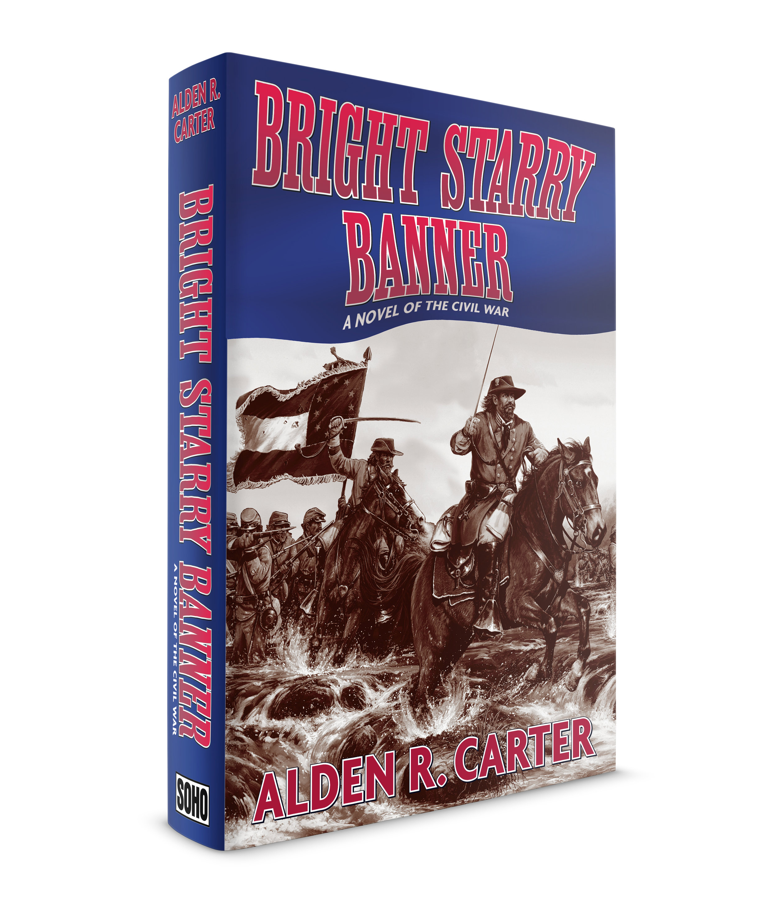 Bright Starry Banner, a novel by Alden R. Carter. Published by Soho Press. This is a Civil War novel where the author has created a fictional account of the pivotal Battle of Stones River. This was a 3-day battle that was, perhaps the bloodiest ever fought on U.S. soil. I guess my biggest challenge here was to make a jacket for a Civil War novel that didn't look like an old book. I used a painting by, John Paul Strain that depicted the actual battle described in the book. I used a beautiful slab serif text face called, Caecilia. The sans-serif is, Agenda and I'm not completely sure of the slab serif in the title. I think it's Egyptienne. For me, the wavy flag banner helps to give it a contemporary look.