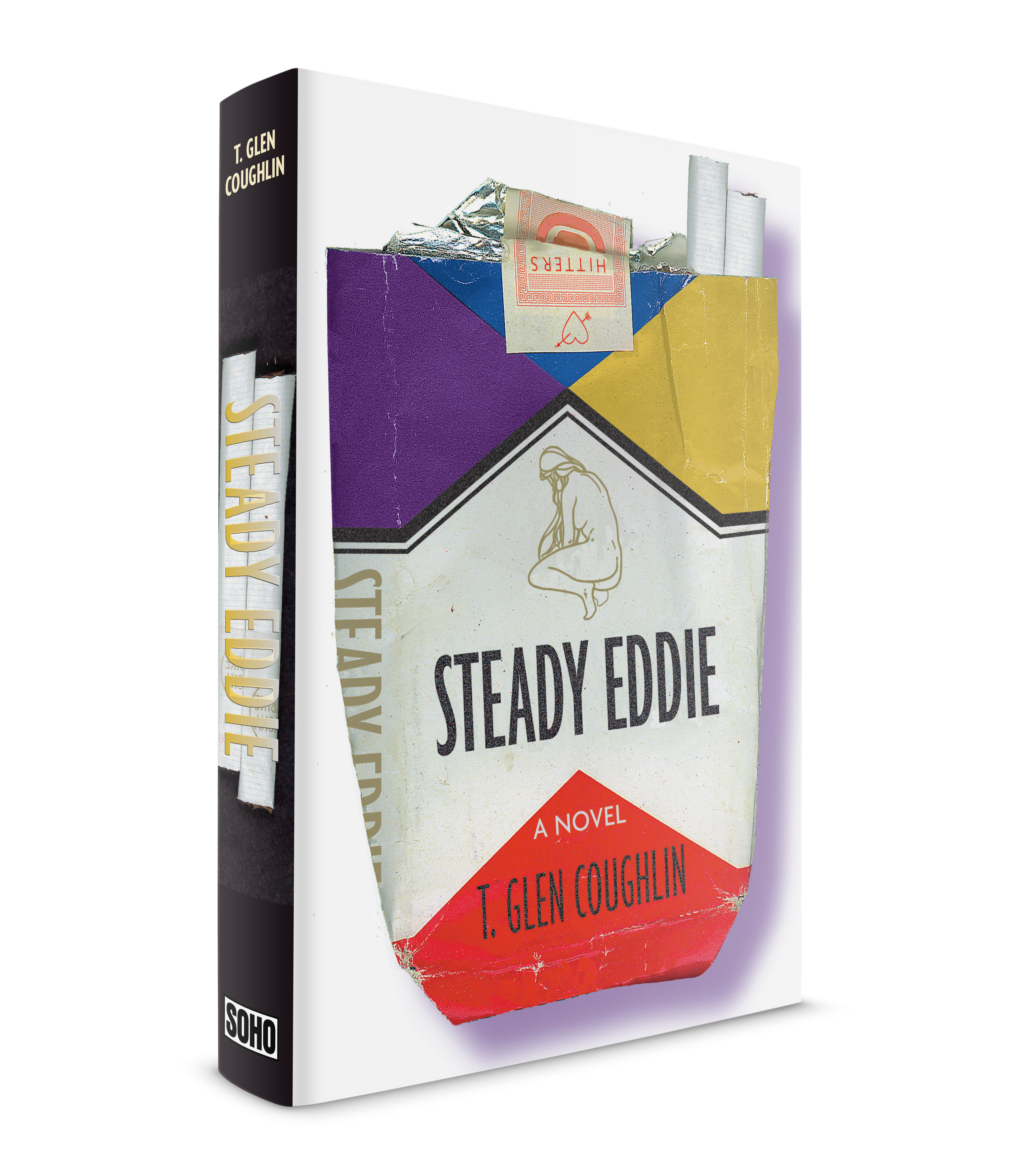 As any Book Designer knows, most jacket layouts get rejected. This was a rejected cover for, Steady Eddie, by T. Glen Coughlin, published by Soho Press. A couple of tough guys growing up on Long Island, one has an uncle in the mob, the other's father takes photos for a skin magazine. Townies these boys are known as, or hitters. Everyone at Soho liked this one but they went with another cover that had, perhaps, a wider appeal.