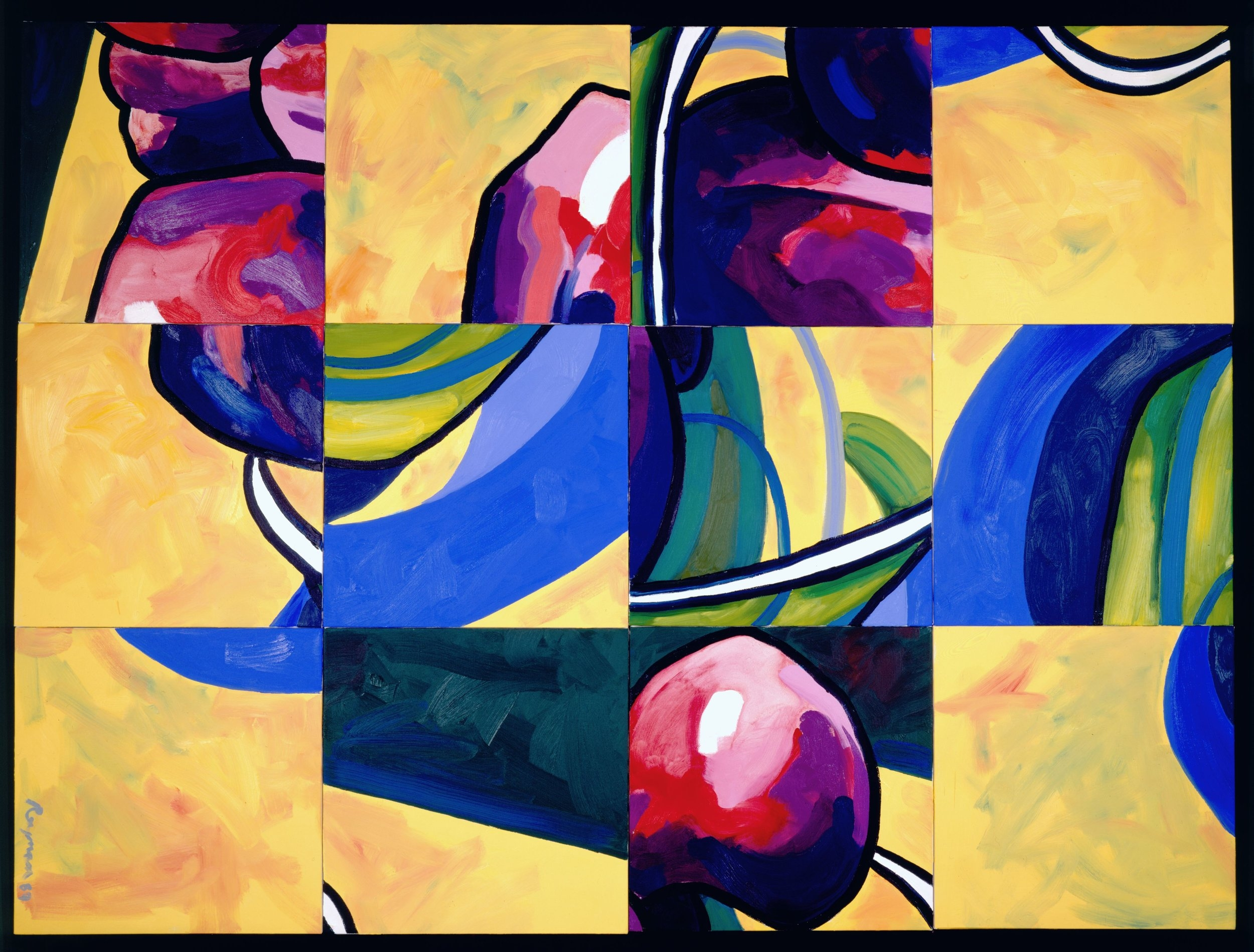 Some Plums • 6 x 8 feet • Oil on Canvases • SOLD