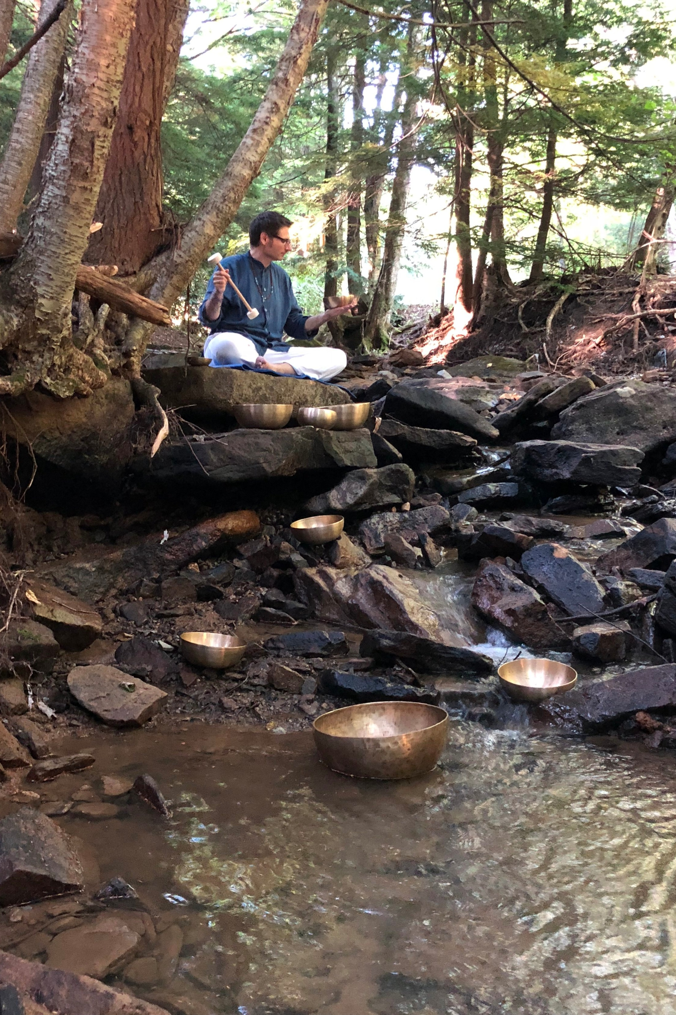 Western Pennsylvania forrest with singing bowls.